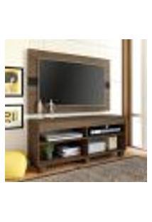 Rack Com Painel Para Tv 47 Polegadas Cross 120 Cm Amêndoa E Preto