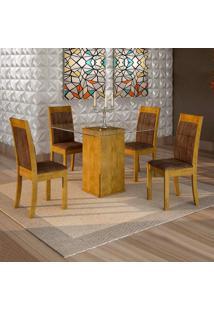 Conjunto De Mesa De Jantar Havana Com 4 Cadeiras Rubi Veludo Ypê E Marrom