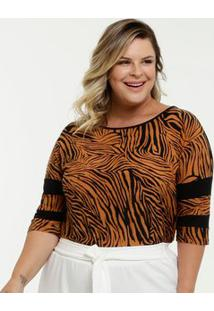 Blusa Feminina Estampa Animal Print Plus Size Manga 3/4