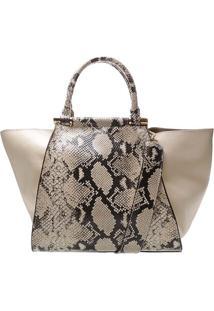 Bolsa Estruturada Textura Animal- Off White & Pretaschutz
