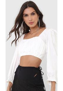 Blusa Cropped Open Style Recortes Off-White