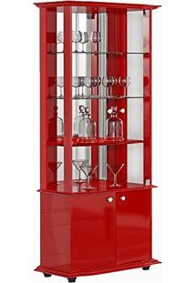 Cristaleira 04 Portas Monalisa Vermelho Brilho - Imcal
