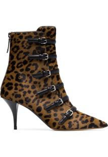 Tabitha Simmons Ankle Boot 'Dash 75' Com Pelo De Bezerro - Marrom