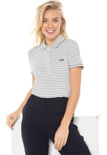 Camisa Polo Lacoste Slim Listrada Bege/Preta