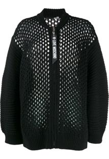 Love Moschino Loose Knit Zip Cardigan - Preto