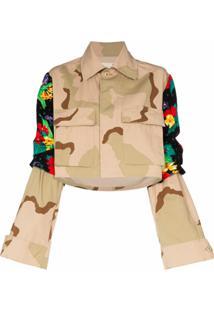 Rentrayage Jaqueta Com Estampa Camuflada E Recortes - Marrom