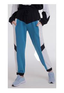 Calça Zinco Comfort Cós Alto Composê De Tecidos Azul