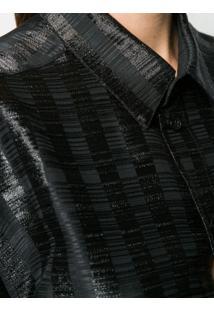Saint Laurent Shimmer Panel Shirt - Preto