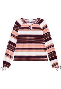 Blusa Estampada Recorte Frontal Malwee
