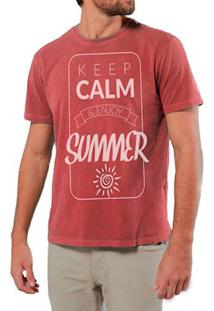 Camiseta Masculina Sandro Clothing Keep Calm Vermelha Estonada