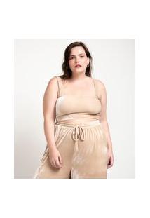 Blusa De Pijama Cropped Em Plush Curve & Plus Size | Ashua Curve E Plus Size | Bege | G