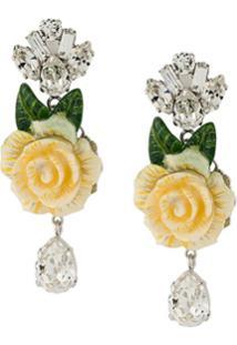 Dolce & Gabbana Par De Brincos De Rosa Com Cristais - Branco