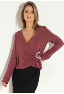 Blusa Bordô Com Argola No Transpasse
