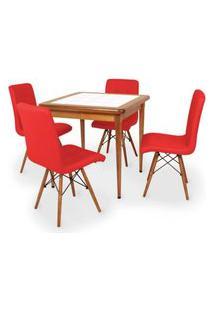 Conjunto Mesa De Jantar Em Madeira Imbuia Com Azulejo + 4 Cadeiras Gomos - Vermelho