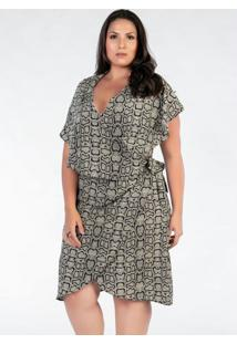 Vestido Plus Size Estampado Snake Envelope