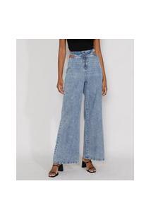 Calça Jeans Feminina Pantalona Wide Cintura Super Alta Marmorizada Com Vazado E Zíper De Argola Azul Claro