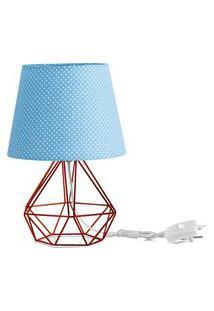 Abajur Diamante Dome Azul/Bolinha Com Aramado Cobre