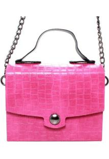 Bolsa Birô Croco Maletinha Feminina - Feminino-Pink