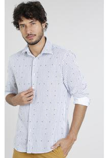 Camisa Masculina Comfort Listrada Manga Longa Branca
