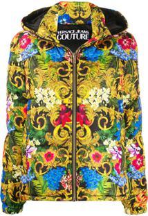 Versace Jeans Couture Jaqueta Matelassê Estampada Com Capuz - Preto
