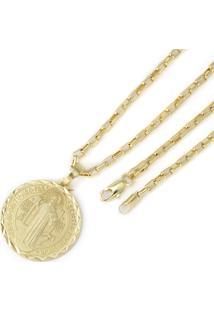 Pingente Tudo Joias São Bento Com Corrente Cartier Folheada A Ouro 18K - Unissex-Dourado