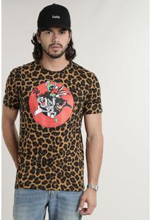 Camiseta Masculina Looney Tunes Estampada Animal Print Manga Curta Gola Careca Caramelo