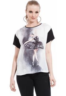 T Shirt Angel Manga Curta Bailarina Preta