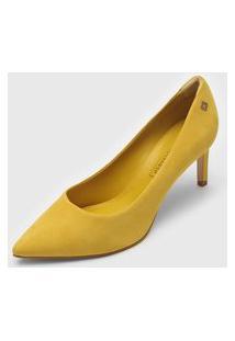 Scarpin Capodarte Nobuck Amarelo