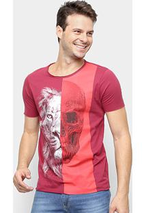 Camiseta Derek Ho Lion Skull Masculina - Masculino-Vinho
