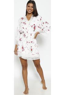 Robe Com Renda Com Lycra®- Branco & Rosafruit De La Passion