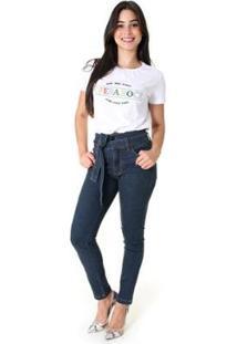 Calça Jeans Opera Rock Clochard Feminina - Feminino-Azul