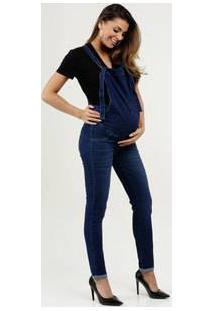 Macacão Feminino Jeans Gestante