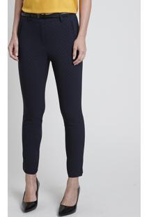 Calça Feminina Skinny Estampada Em Jacquard Com Cinto Azul Marinho