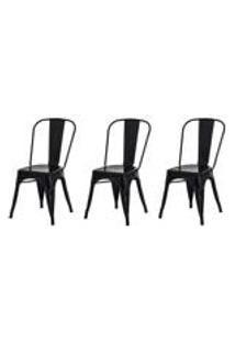 Kit 3 Cadeiras Tolix Iron Design Preta Aco Industrial Sala Cozinha Jantar Bar
