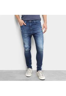 Calça Jeans Skinny Fatal Rocker Destroyed Masculina - Masculino