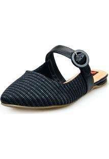 Sapatilha Love Shoes Mule Fivela Aberto Rafia Preto