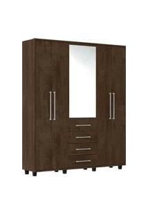 Guarda-Roupa Las Vegas Iii Com 5 Portas E Com Espelho Rv Móveis Marrom