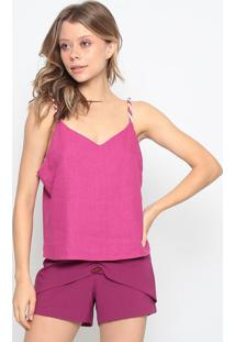 Blusa Lisa Em Linho - Pink - Chocoleitechocoleite