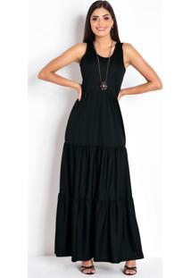Vestido Longo Preto Com Recortes Na Saia