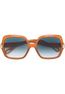 Chloé Eyewear Óculos De Sol Oversized - Amarelo