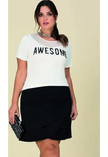 Blusa Plus Size Branca Manga Curta Decote Vazado