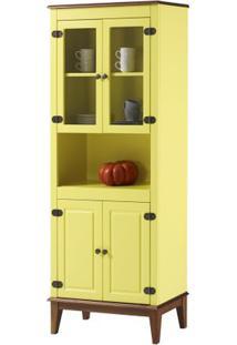 Cristaleira Malu 4 Portas Cor Amarelo Com Base Amendoa 180 Cm - 62826 - Sun House