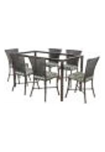 Jogo De Jantar 6 Cadeiras Turquia Tabaco A28 E 1 Mesa Retangular Sem Tampo Ideal Para Área Externa Coberta