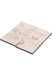 Descanso De Panela E Copo De Madeira Quartzo Woodart Bege 17X17Cm - 26981
