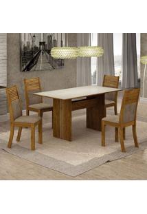 Conjunto De Mesa De Jantar Florença Iii Com 4 Cadeiras Havaí Suede Off White E Cappuccino