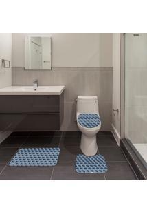 Jogo De Banheiro Geométrico Azul Único
