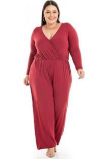 Macacão Miss Masy Plus Size Viscolycra Com Transpassado Feminino - Feminino-Vermelho