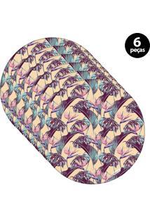 Sousplat Mdecore Floral 32X32Cm Bege 6Pçs