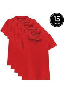 Kit 15 Camisas Polo Basicamente Feminino - Feminino-Vermelho