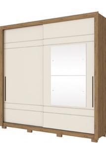 Guarda Roupa Henn Delicato 2 Portas De Correr 2 Espelhos Rustico /Off White